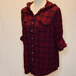 Maurice's size 2 hooded plaid button down